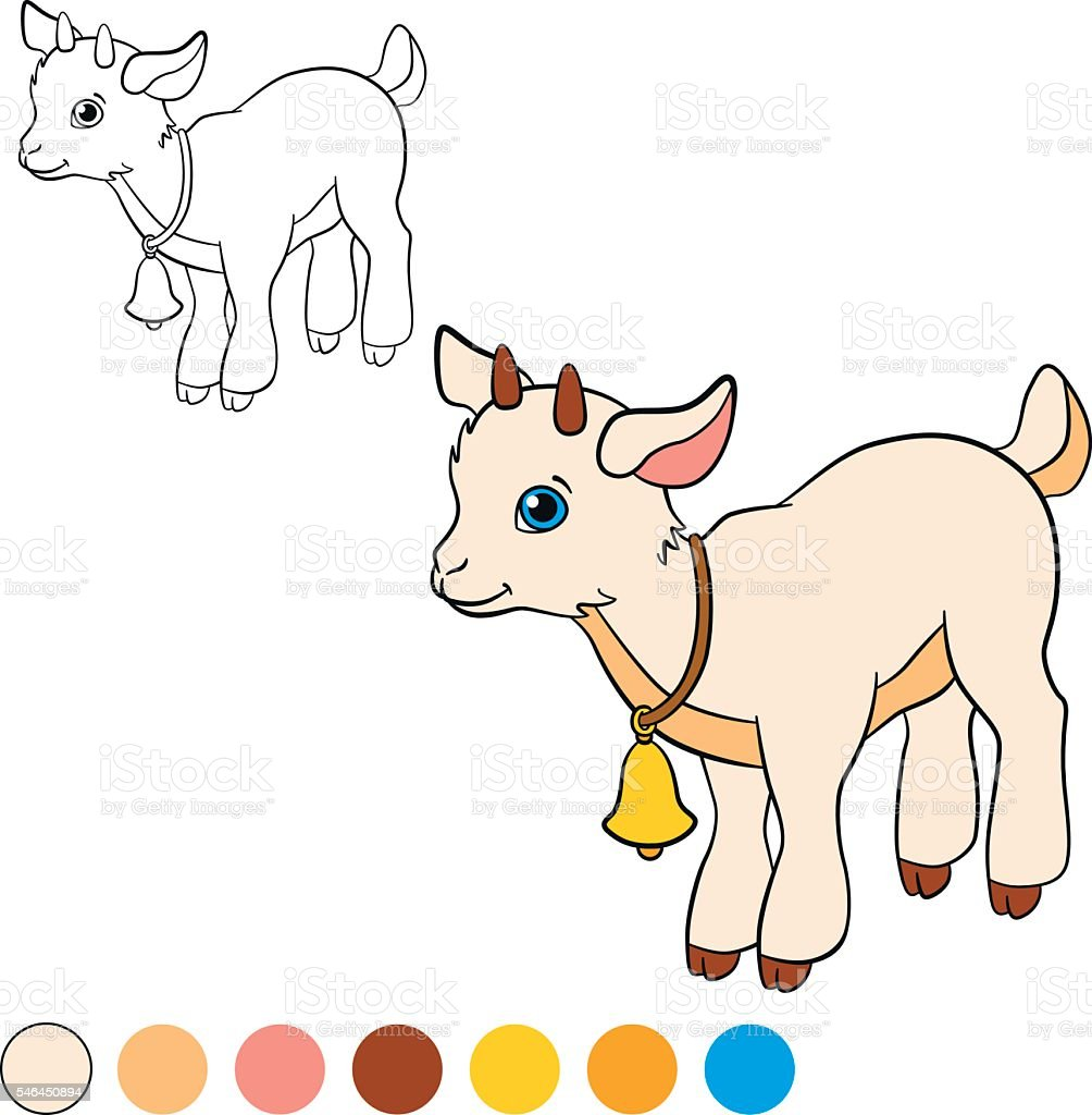 Coloring Page Color Me Goat Little Cute Baby Royalty Free