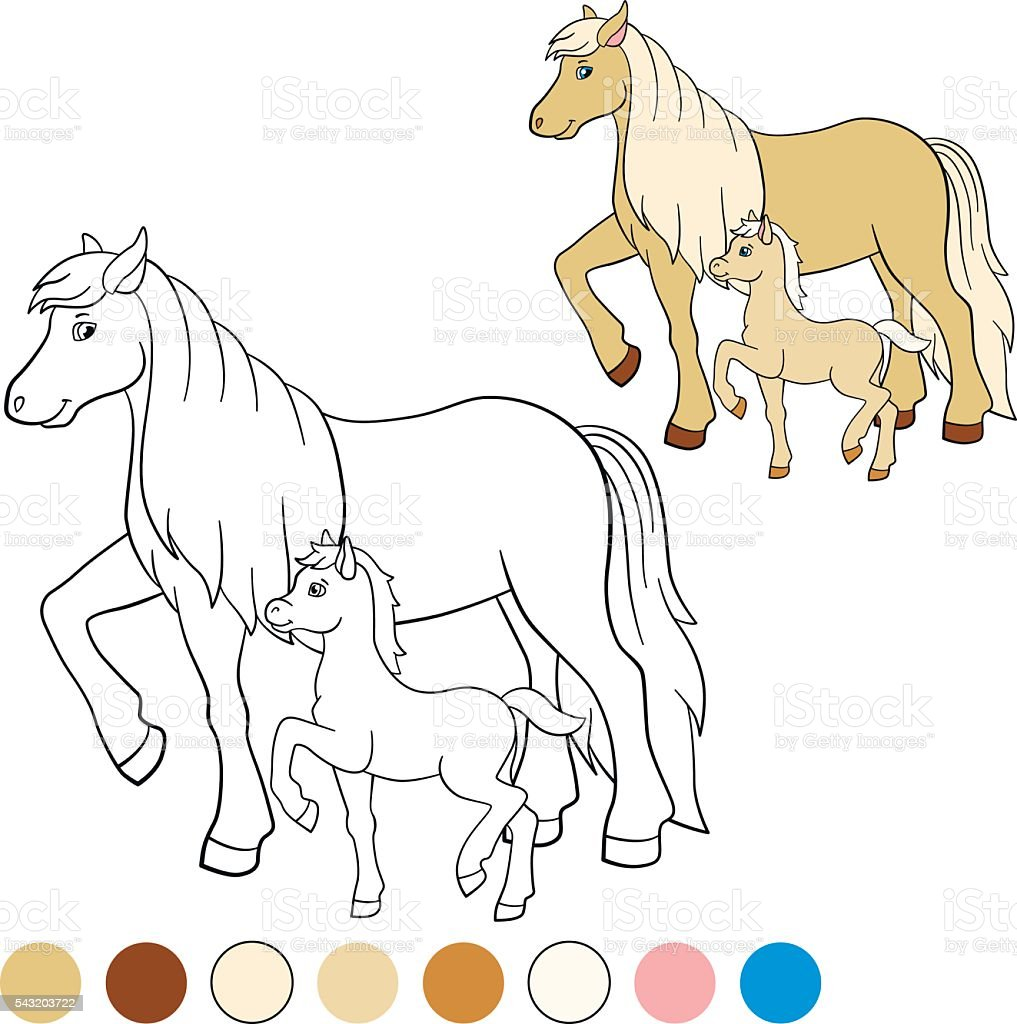 Colorear Página Me De Color Caballos Madre Caballo Con Potro - Arte ...