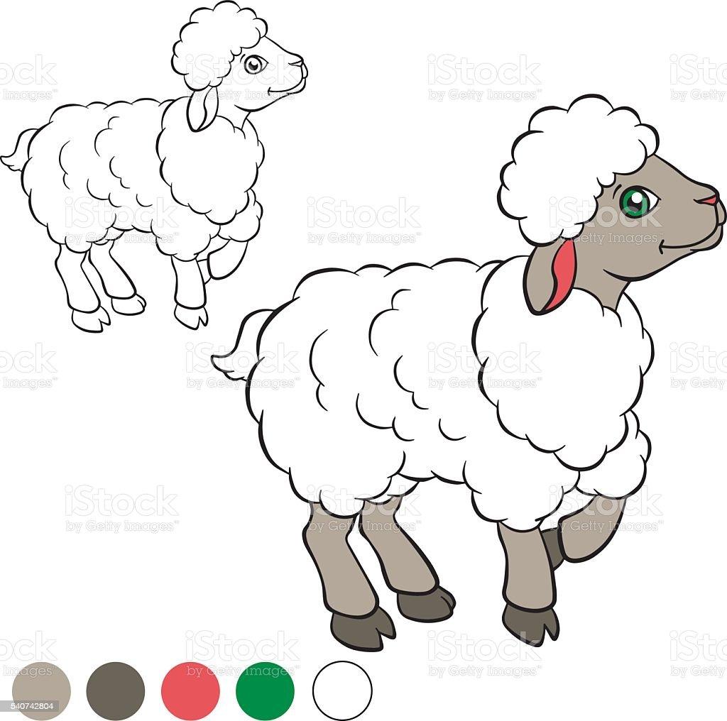 Ilustración de Colorear Página Me De Color Ovejas y más banco de ...