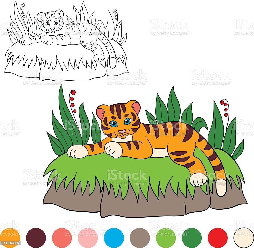 Ilustración de Colorear Página Me De Color Tiger Lindo Bebé Pequeño ...