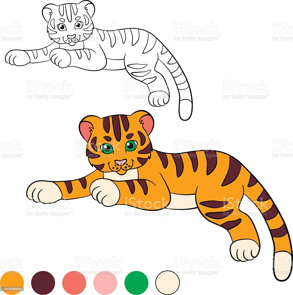 Pagina Da Colorare Colore Me Tigre Piccolo Grazioso Bambino
