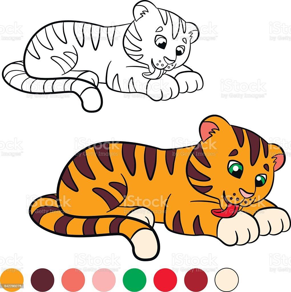 Färbung Seite Color Me Tiger Kleines Süßes Baby Tiger Stock Vektor ...