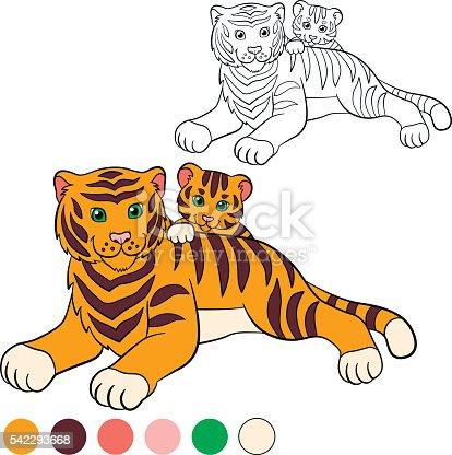 Ilustración de Colorear Página Me De Color Tiger Madre Con Su Bebé ...