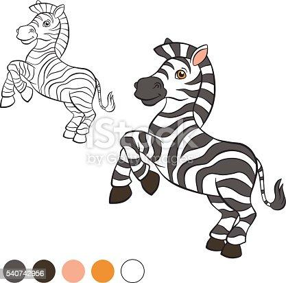 Ilustración de Colorear Página Me De Color Cebra y más banco de ...