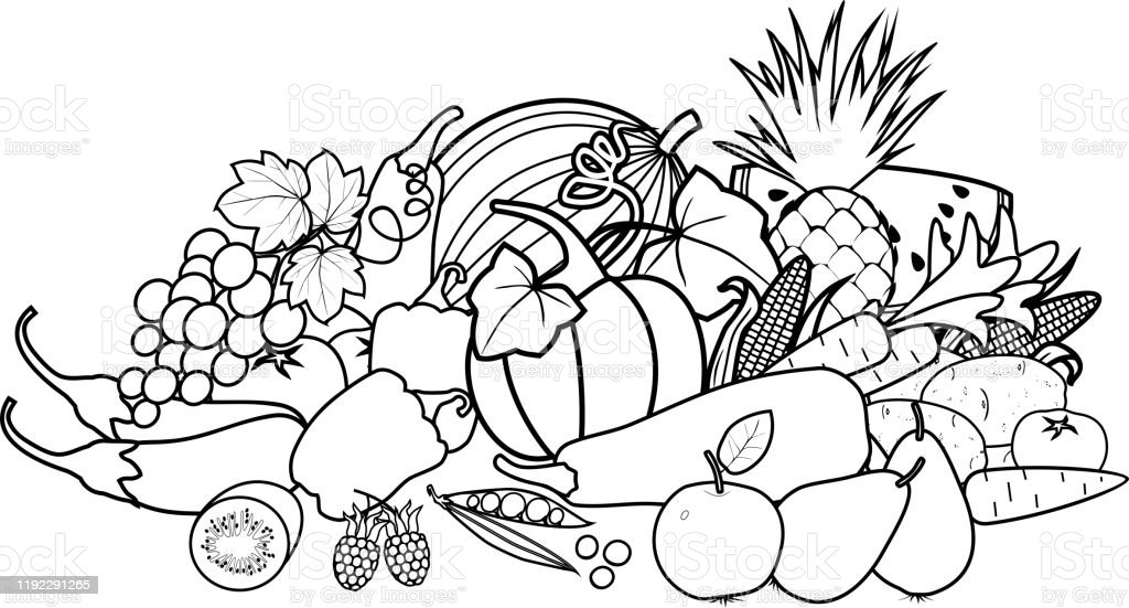 Coloring Page Composition Of Different Vegetables And ...