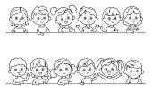 Vector Coloring Page Cute boys and girls collection. Multi-ethnic group of happy children. Different cartoon faces icons