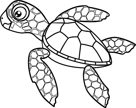 one direction coloring pages cartoon animals | Coloring Page Cute Cartoon Hatchling Of Sea Turtle Stock ...