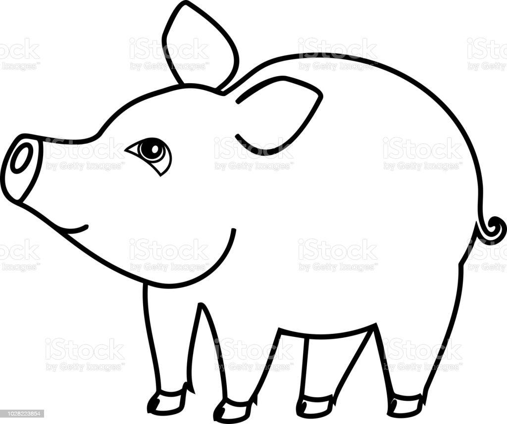 Coloriage cochon dessin anim mignon sur fond blanc - Dessin cochon mignon ...