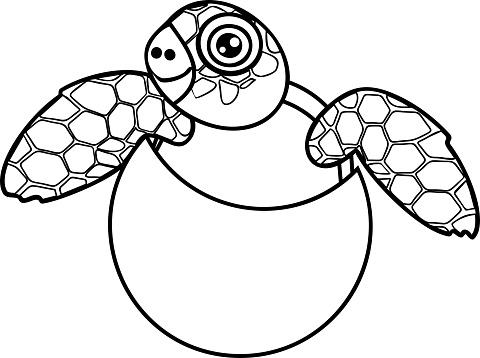 Boyama Sayfasi Sevimli Cizgi Deniz Kaplumbagasi Yumurta Disari