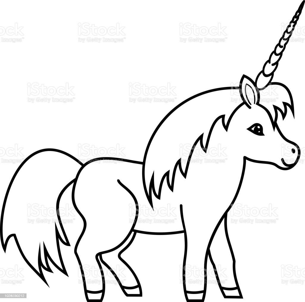 Ilustración De Página Para Colorear Unicornio Lindo Y Más