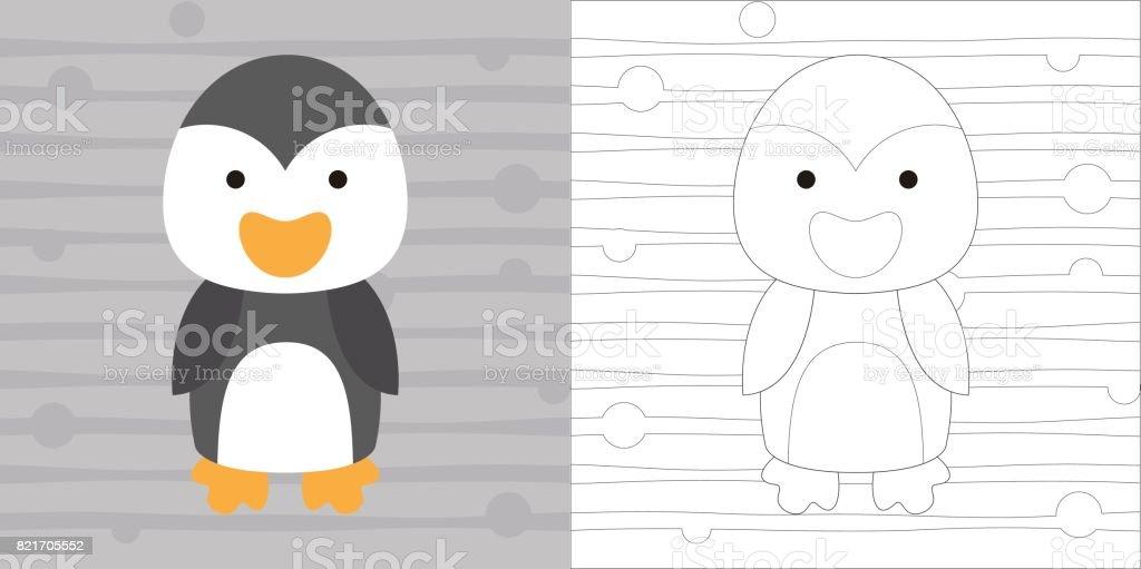 Colorear Página Lindo Pequeño Pingüino Para La Educación - Arte ...