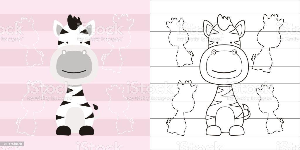 Boyama Sayfa Egitim Icin Sirin Kucuk Zebra Stok Vektor Sanati