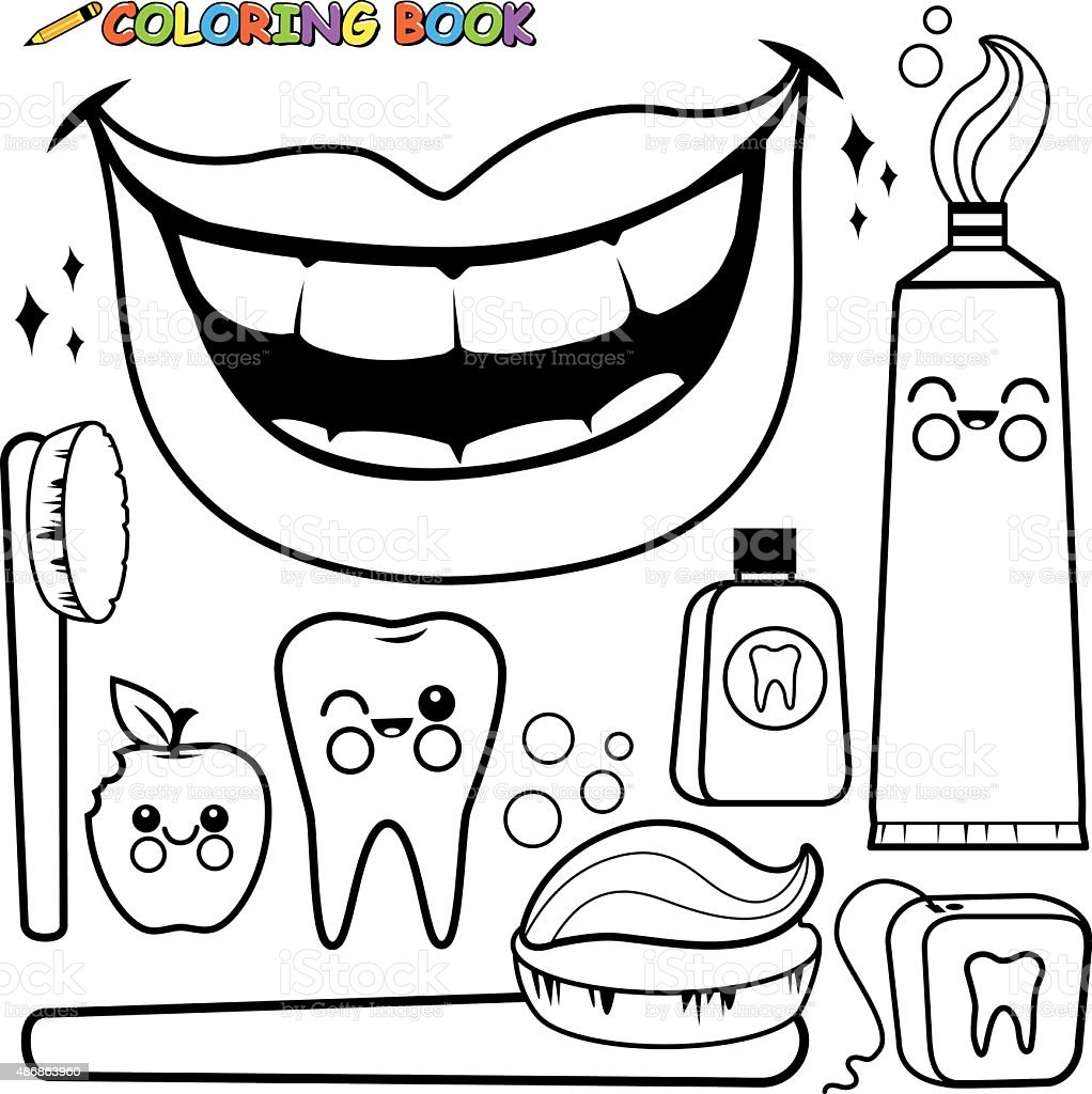 Coloring Page Dental Hygiene Vector Set Stock Vector Art & More ...