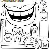 Coloring page dental hygiene vector set