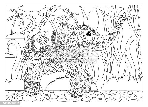 istock Página para colorear de adulto de elefante 806717276 istock ...