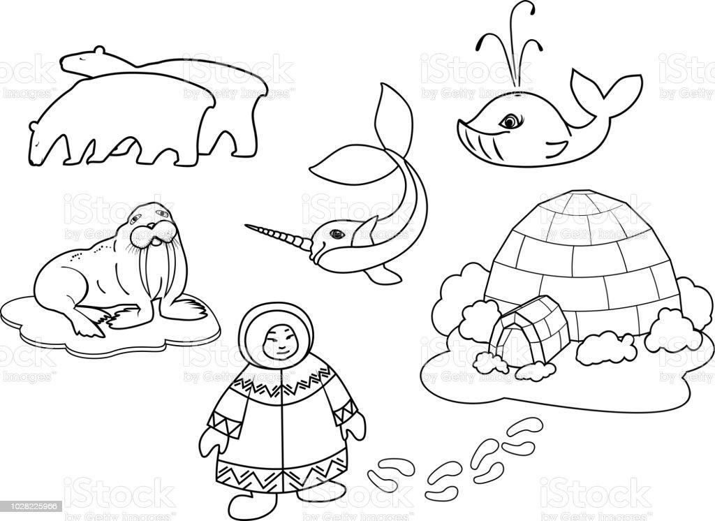Coloriage Eskimo En Vetements Nationaux Igloo Et Animaux De Dessin