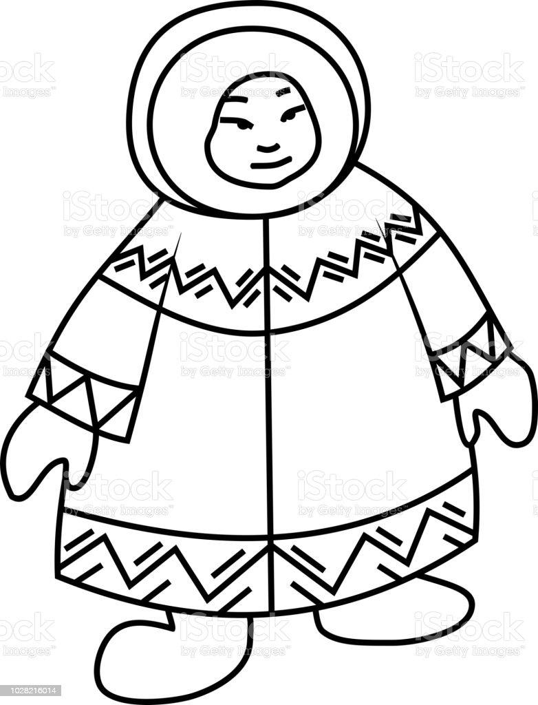 Boyama Sayfasi Eskimo Ulusal Giysiler Stok Vektor Sanati Adamlar