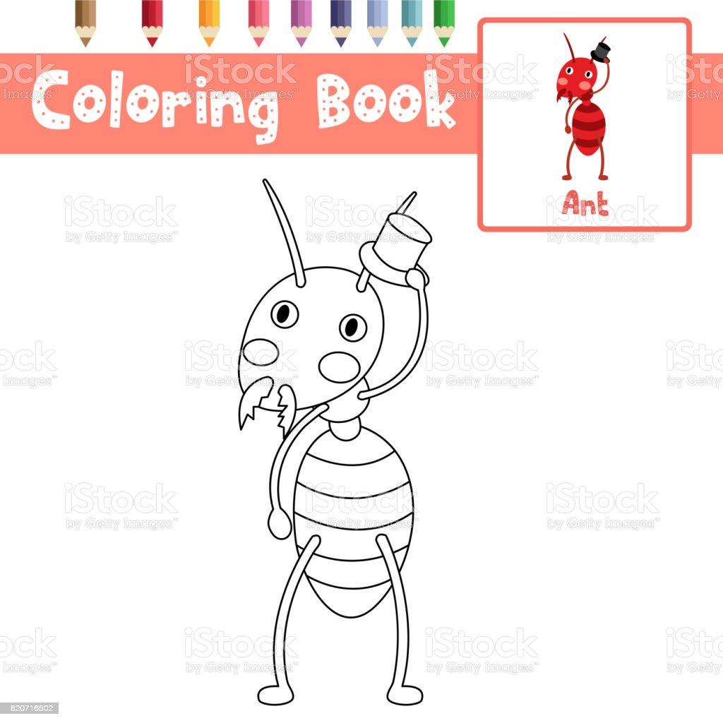 Sayfa Ateş Karıncası Siyah şapka Vektör çizim Ile Boyama Stok Vektör