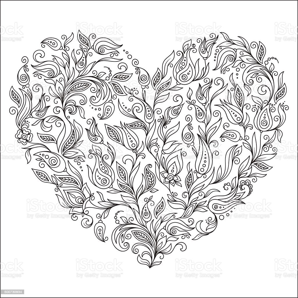 Coloring Page Flower Heart St Valentines Day Greeting Card Stock ...