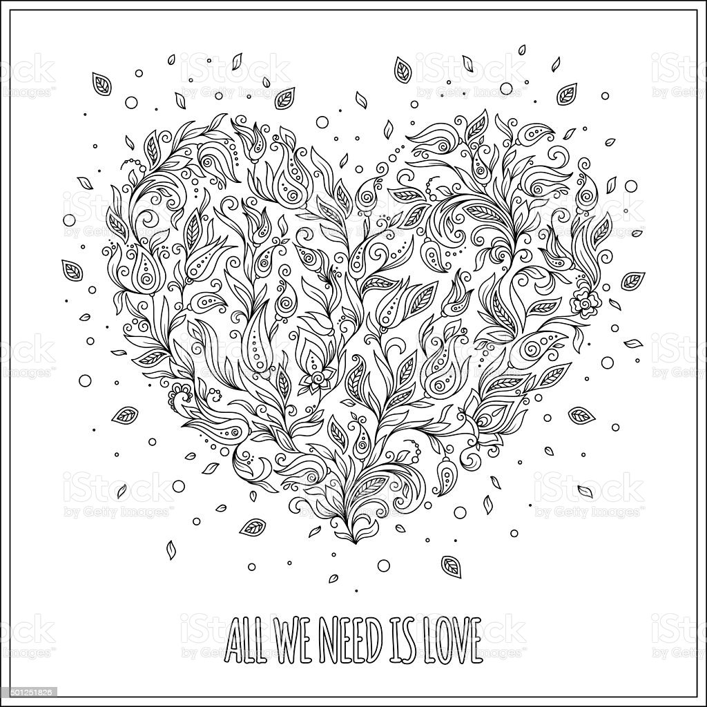 coloring page flower heart st valentines day greeting card royalty free stock vector art