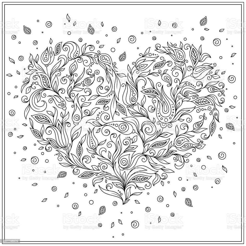 Färbung Seite Blumen Herz Valentinstag Stock Vektor Art und mehr ...
