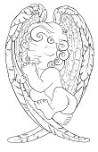 Coloring page for adult, kids coloring book, notebook with sleeping baby angel on his wings. Christmas boy. Black and white pattern for your design, textile, poster, bullet journal.