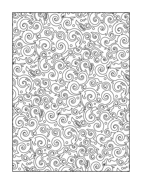 Coloring page for adults, or black and white ornamental background vector art illustration