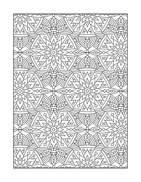 Coloration page pour les adultes, ou fond d'ornement en noir et blanc - Illustration vectorielle