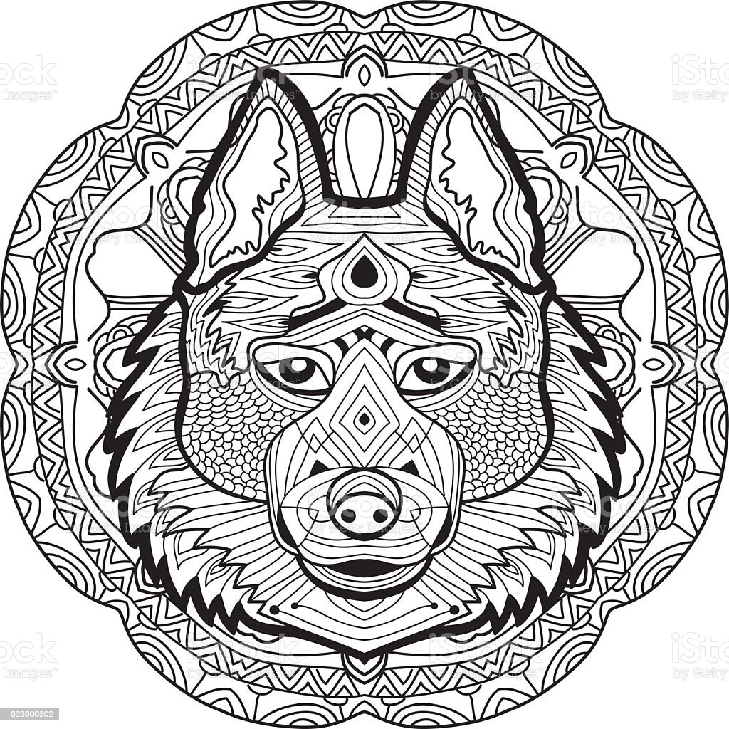 Coloring Page For Adults Stern Husky On A Background Stock Vector ...