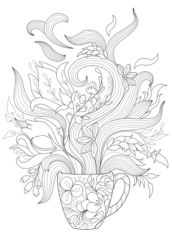 Coloring page for adults with a cup and flowers
