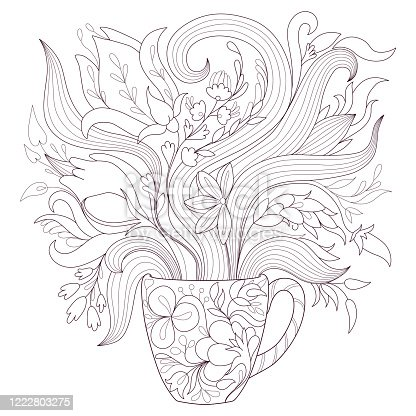 istock Coloring page for adults with a cup and flowers 1222803275