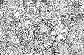 Coloring page for adults with abstract doodle background. Cartoon ink graphic art for adults. Vector illustration.