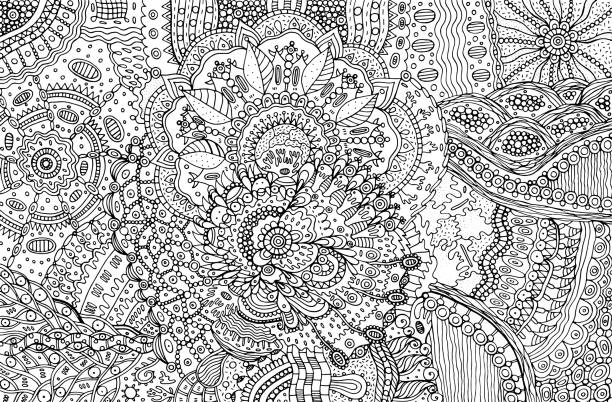 Coloring page for adults with abstract doodle background. Cartoo Coloring page for adults with abstract doodle background. Cartoon ink graphic art for adults. Vector illustration. só adultos stock illustrations