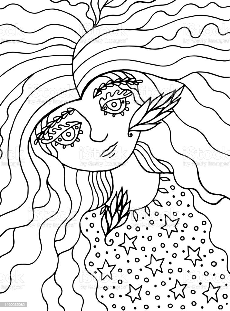 Coloring Page For Adults With Cute Fairy Tale Witch Girlink Line