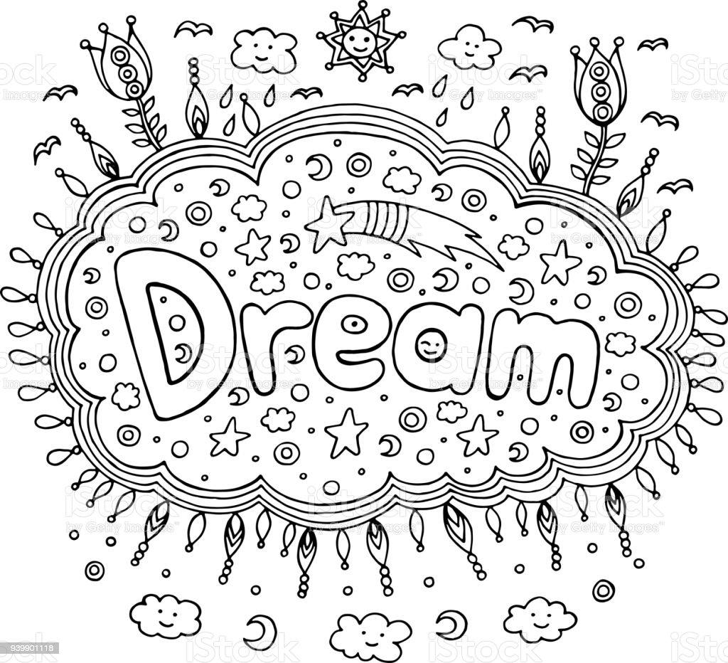 Mandala Ve Rüya Kelime Ile Yetişkinler Için Boyama Sayfası Yazı