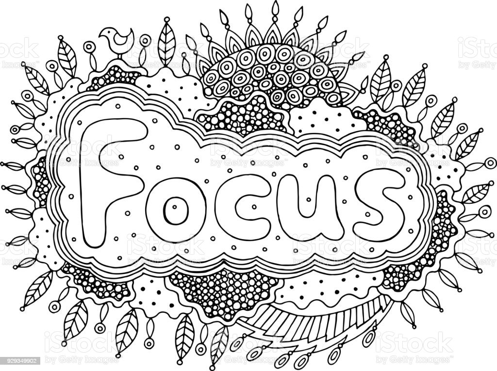 coloring page for adults with mandala and focus word doodle lettering ink outline artwork vector. Black Bedroom Furniture Sets. Home Design Ideas