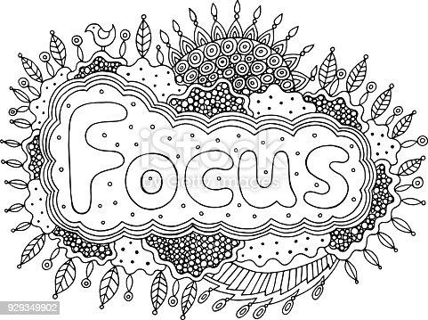 Malvorlagen Für Erwachsene Mit Wort Mandala Und Fokus Doodle ...