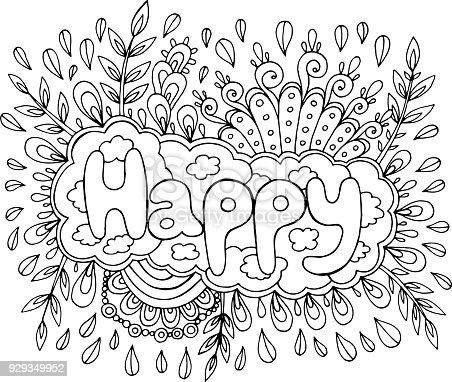 Coloring Page For Adults With Mandala And Happy Word