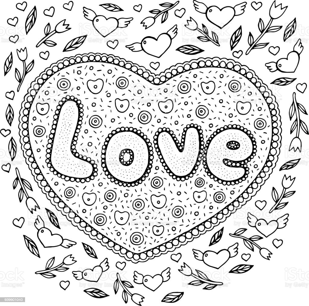 Ilustraci n de p gina para colorear para adultos con for Love mandala coloring pages