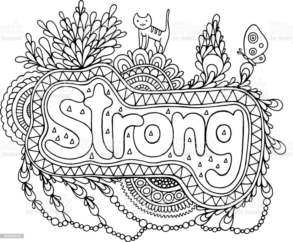 coloring page for adults with mandala and strong word doodle lettering ink outline artwork. Black Bedroom Furniture Sets. Home Design Ideas