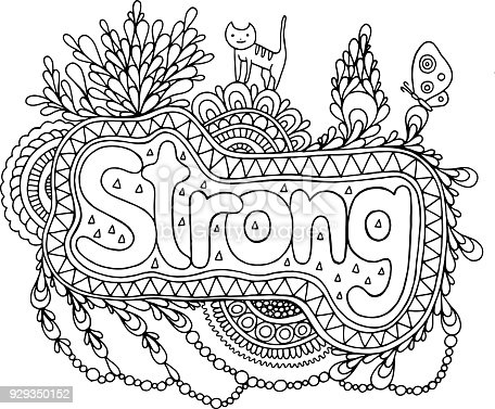 coloring page for adults with mandala and strong word