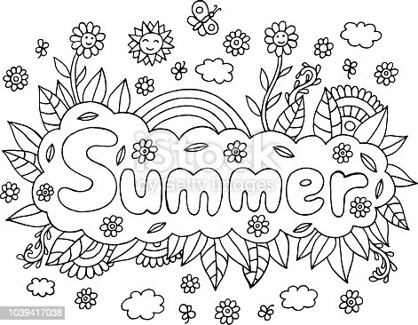 Coloring page for adults with mandala and Summer word. Doodle lettering ink outline artwork. Vector illustration.