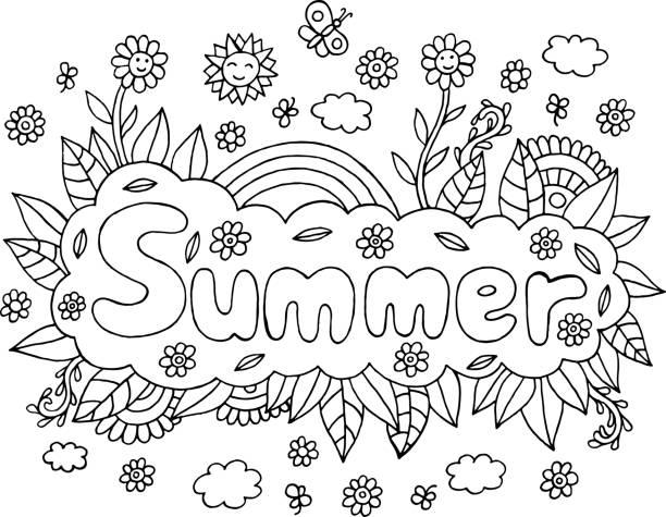 만다라와 여름 단어와 성인을 위한 페이지를 색칠. 레터링 잉크 개요 삽화 낙서 벡터 일러스트입니다. - 색칠하기 stock illustrations