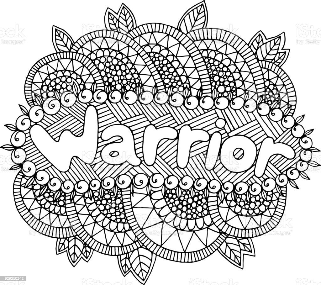 coloring page for adults with mandala and warrior word doodle lettering ink outline artwork. Black Bedroom Furniture Sets. Home Design Ideas