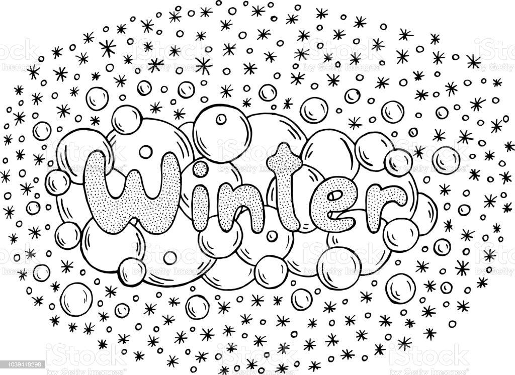 Kleurplaten Seizoen Winter.Kleurplaat Voor Volwassenen Met Mandala En Winter Word