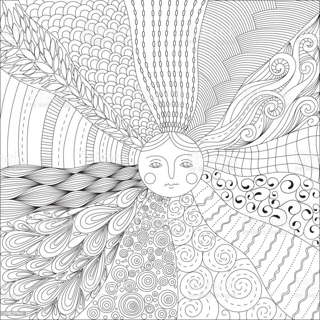 Coloriage Adulte Soleil.Coloriage Pour Adultes Avec Le Soleil Vecteurs Libres De Droits Et