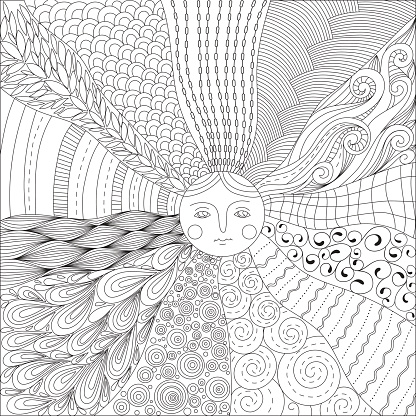 Coloring page for adults with the sun