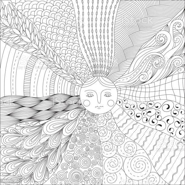 coloring page for adults with the sun vector id