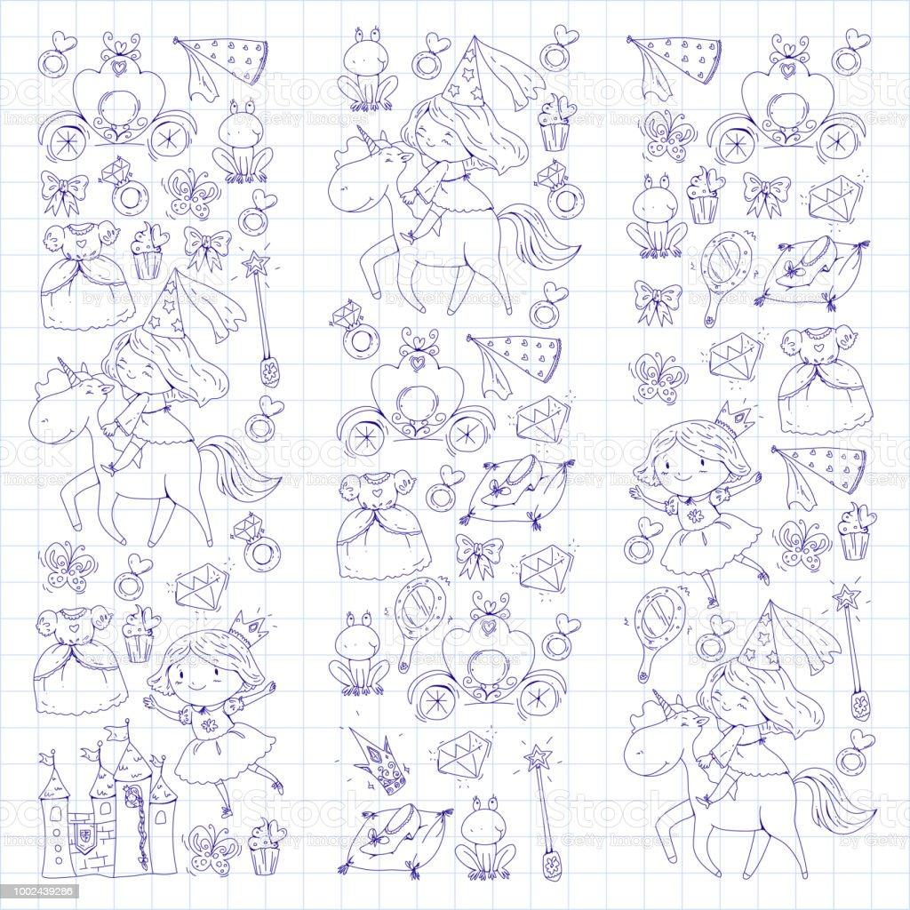 Coloriage Livre Mignonne Petite Princesse Avec Licorne Et Dragon