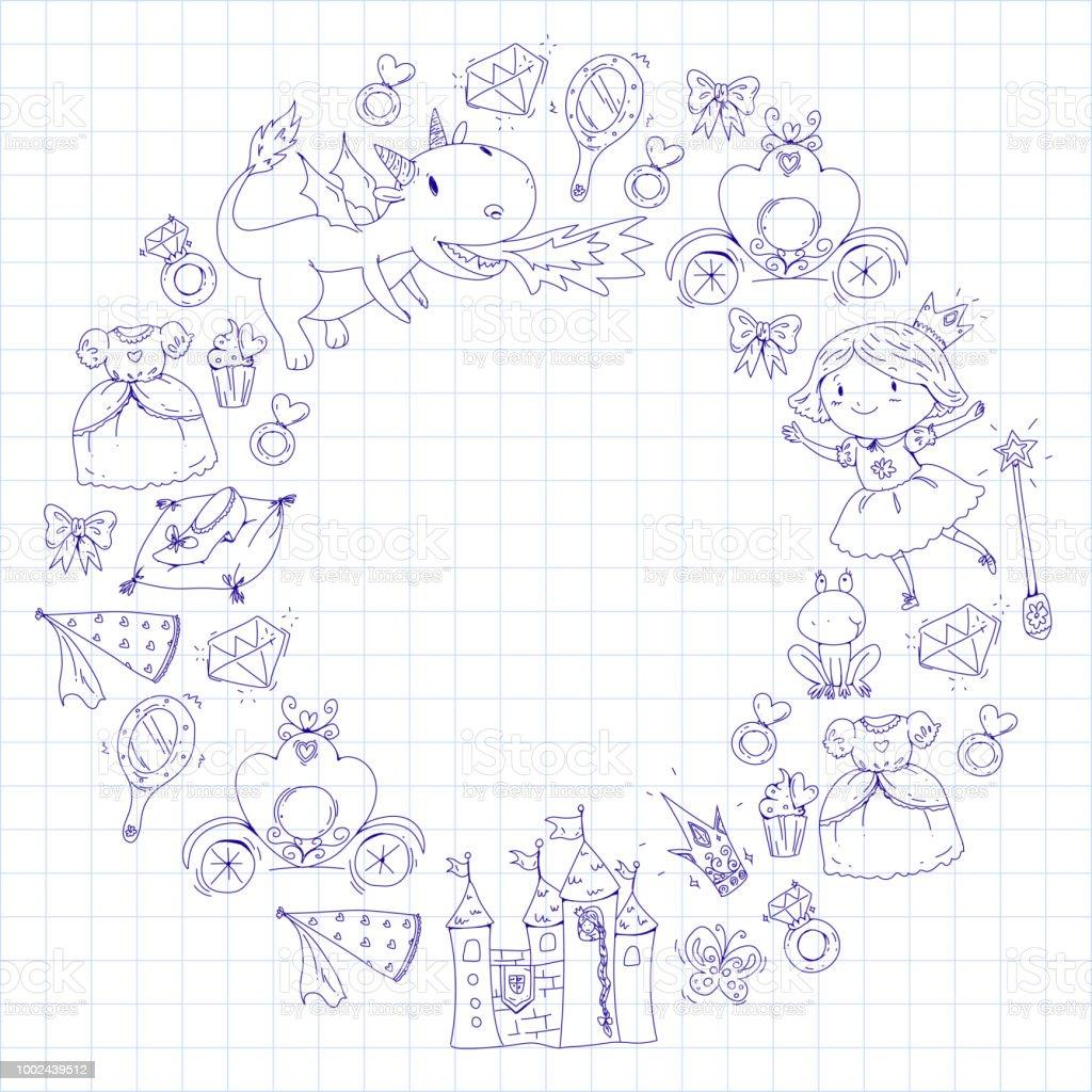 Malvorlagen Für Buch Niedliche Kleine Prinzessin Mit Einhorn Und